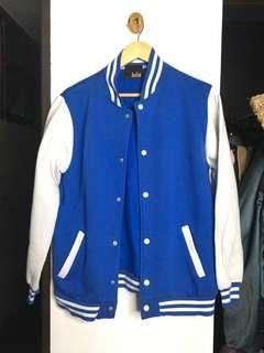 Plain blue and white varsity jacket
