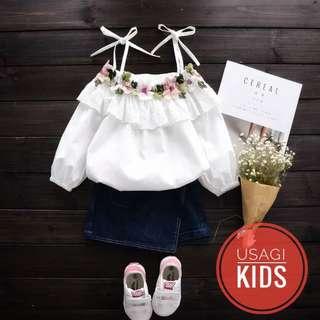 新款女童花朵刺绣长袖白衬衫儿童系带露肩裙衫