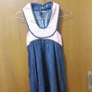 Preloved Mini Dress Halterneck Hijau Fit to L Mat Katun Tebel