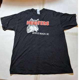 Used Hooter Black T shirt Marked XL P2P 60cm