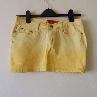 Yellow Ombre Denim Mini Skirt