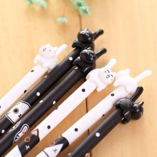 1pc Cute Black And White Kitten Black Gel Pen