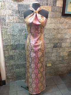 Pink champagne lace gown with swarovski crystal detail