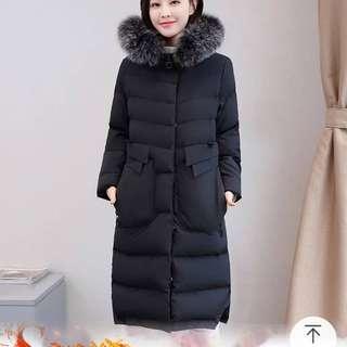 🚚 韓版黑色加厚中長修身 時尚舖棉厚外套