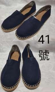 深藍色懶人帆布鞋