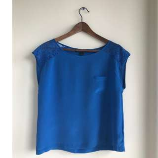 Forever 21 Blue shirt with lace sleeves - small/medium