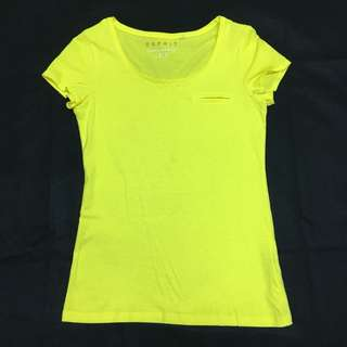 🚚 Esprit亮黃色素色上衣T恤
