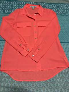 Forever 21 long-sleeved neon orange blouse