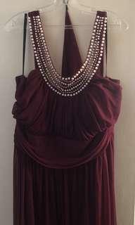Burgundy Evening Dress w/ Pearl & Diamond Neckline - 3XL