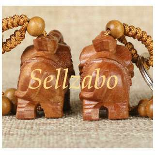 Auspicious Keychains : #Elephant Peach Wood Wishings Protect Best Luck Charm Key Chains Hang Accessory Accessories Engravings Chinese Mandarin Wordings Sellzabo