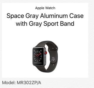 Apple Watch S3 Space Gray Aluminium Case with Gray Sports Band (GPS + Cellular)