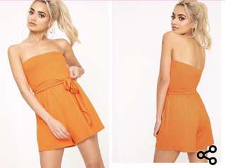 Orange Strapless Playsuit
