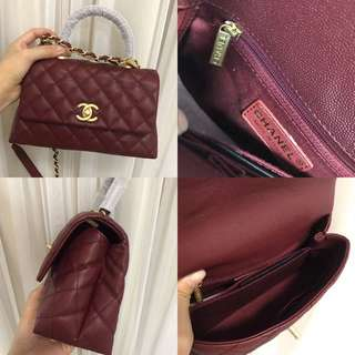 Chanel coco handle in burgundy/ wine red