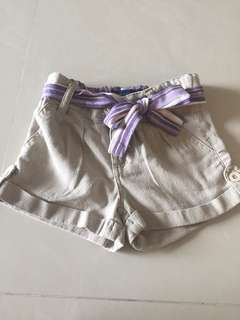 Cool linen shorts pumpkin patch with ribbon belt 3y