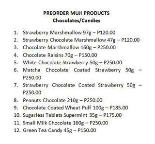 PREORDER Muji Chocolates/Candies