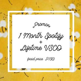 1 MONTH SPOTIFY + LIFETIME VSCO