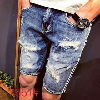 Maong tattered short