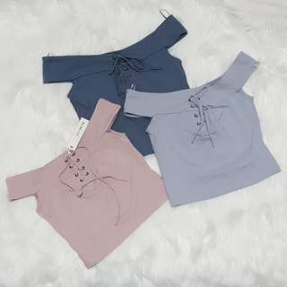 New Cotton On Basic Crop Top Lace Up Detail Nude Pale Blue Gray Pastel Orange Off shoulder