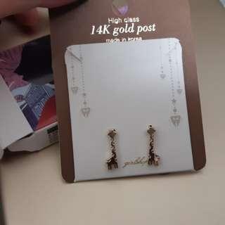正韓 韓國製造鍍14k金可愛動物耳環