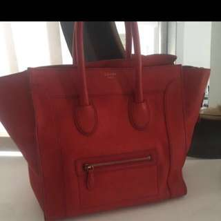Celine red micro luggage bag