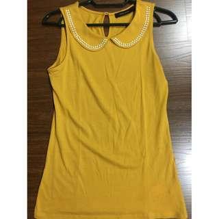 G2000 woman mustard yellow tanktop sleeveless blouse with beads 32