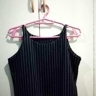 Black pinstripe crop top