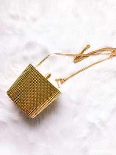 Y&S Gold Vintage Evening Sling Clutch Bag