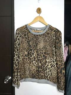 Leopard print see through sweater