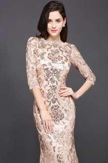 Sequin floral dress rosegold