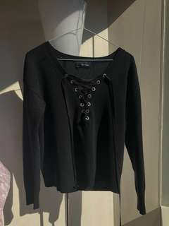 The Kooples Lace Up Sweater - Black, Size 1