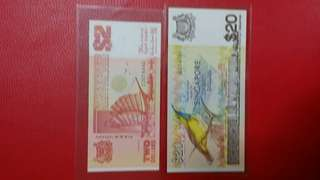 Singapore $20 Bird Last Prefix & $2 Replacement UNC