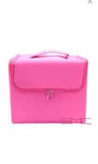 Hot pink 5 layer professional big make up extendable make up box with strap