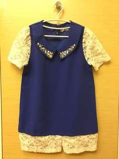 🚚 超美寶藍色拼接簍空蕾絲短袖上衣 正韓