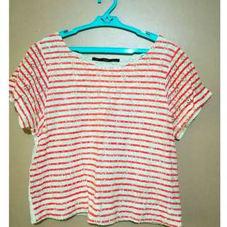 For Me Striped Lace Crop Top
