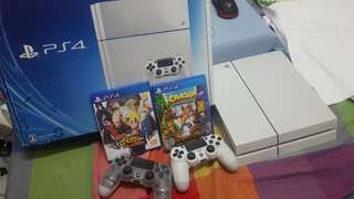PS4 500GB with 2 Dual Shock Controllers & Road to Boruto & Crash Bandicoot Trilogy Games