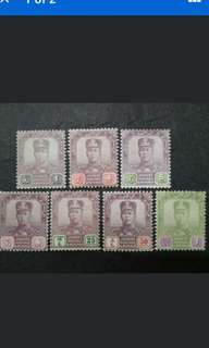 Malaya Johore Johor 1921-25 Watermarked Multiple Crown & Script C.A. Up To $1 - 7v Mint Malaya Stamps