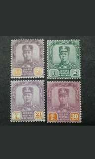 Malaya Johore Johor 1928-40 Watermarked Multiple Crown & Script C.A. Up To 30c - 4v Mint Malaya Stamps