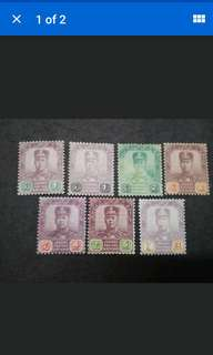 Malaya Johore Johor 1921-40 Watermarked Multiple Crown & Script C.A. Up To 21v - 7v Mint Malaya Stamps