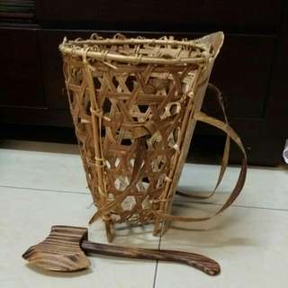Rattan Basket with Axe