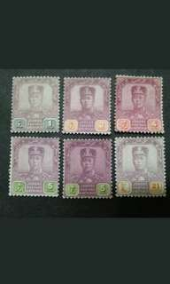 Malaya Johore Johor 1921-40 Watermarked Multiple Crown & Script C.A. Up To 21v - 6v Mint Malaya Stamps