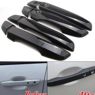 4x Car Interior Mouldings ABS Carbon Fiber Style RHD Door handle cover For Honda Civic FC 2017