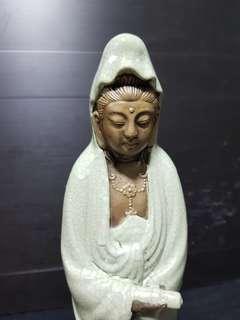 """11"""" 绿釉观音菩萨瓷雕造像。"""