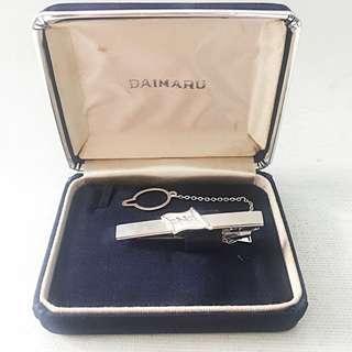 """Vintage Daimaru Silver """"N"""" Tiepin with Button Clip"""