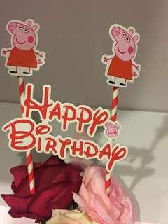Peppa Pig Happy Birthday Cake Topper