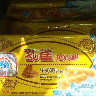 台灣直運 孔雀 牛奶糖卷心餅