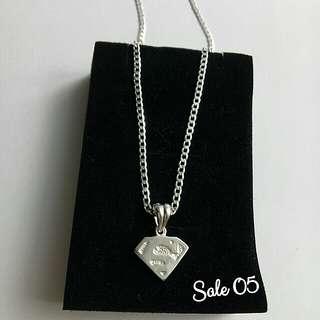 Genuine 925 Italy silver superman necklace