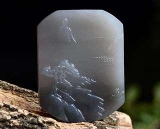[hetian jade seed, qinghua landscape card]