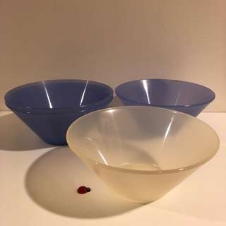 Ikea set of 4 blue and white plastic bowls