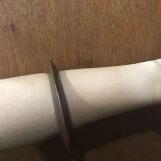 Dark brown flat oval wooden bangle