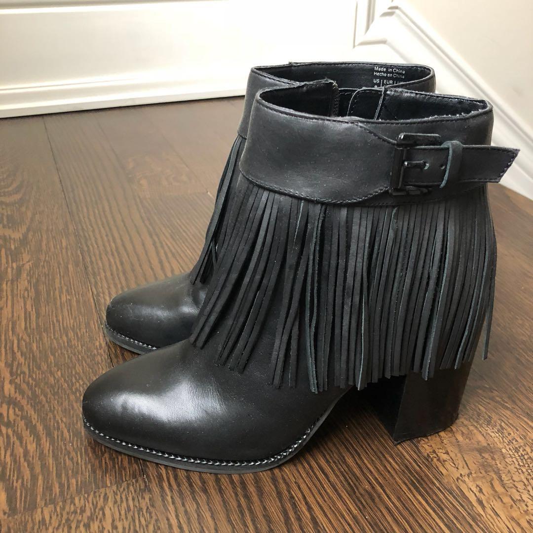 Aldo fringed black boots size 8